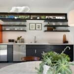 Digz 700 ADU kitchen showing wine cooling unit, full-size dishwasher and clerestory windows.