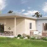 Tenaya modern cottage rear exterior view of deck.