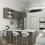 Image showing the kitchen area of the Toluca modern modular mini home ADU by Dvele.