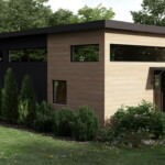 Side view of the exterior of the Baldwin prefab modular mini home accessory dwelling unit.